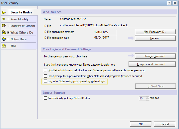 IBM Notes - Notes Shared Login Failed with this ID – GSX